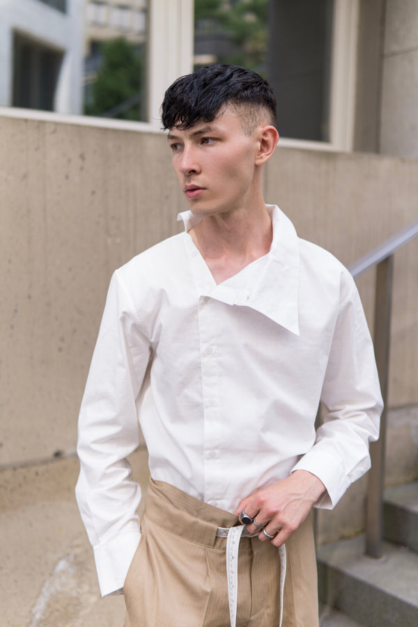 White - Layered collar shirt