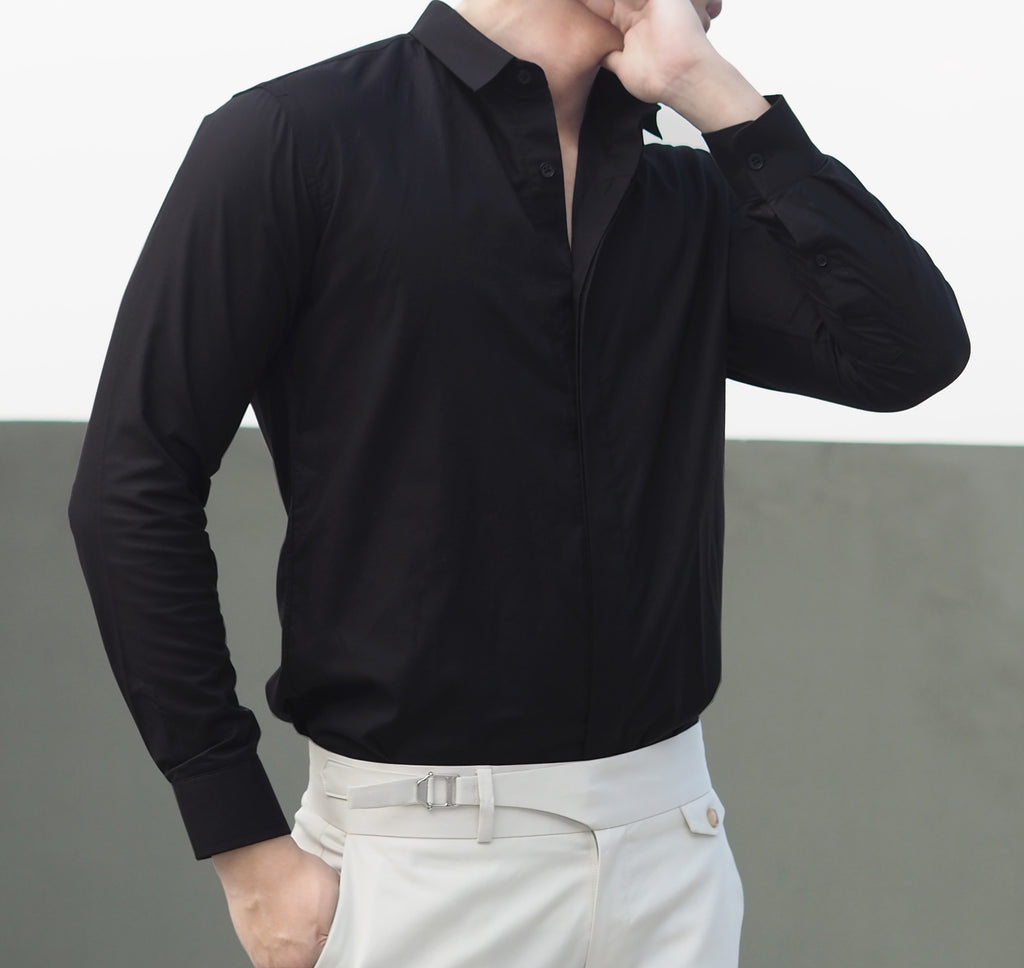 Black mini collar shirt