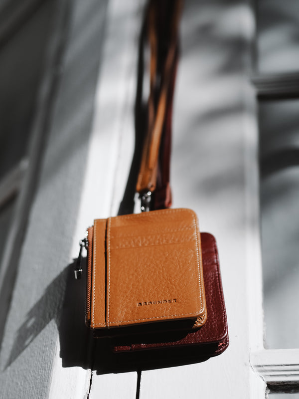 Tan leather card holder lanyards