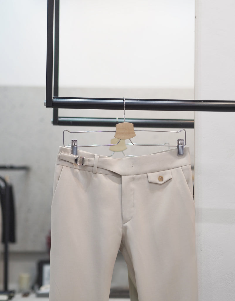 Beige wool - belt waist trousers