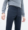 Navy double belt trousers
