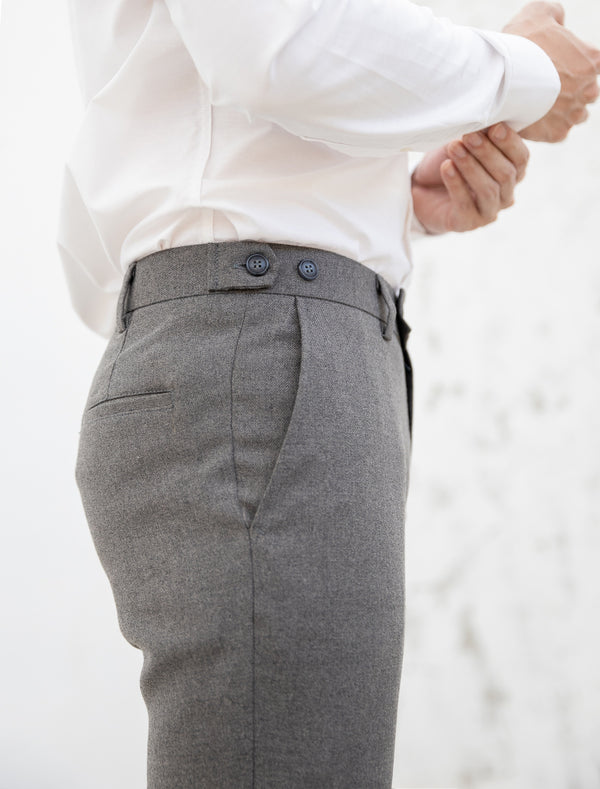 Grey with double button trousers