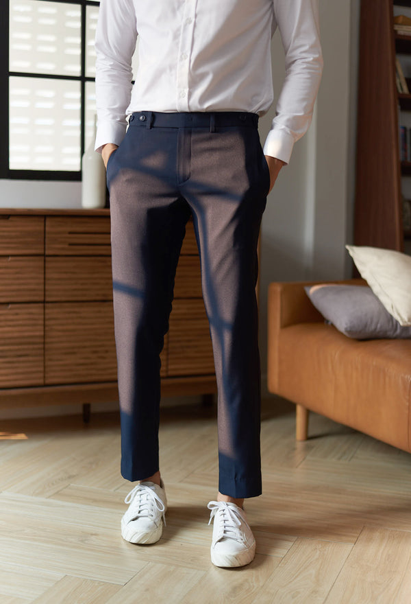 Navy - wool seersucker trousers