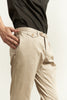 Beige tailored cotton chinos with pocket