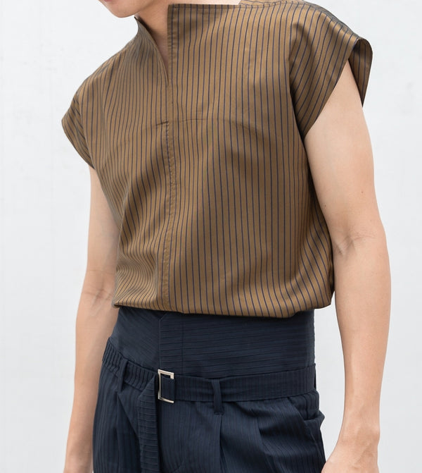 Brown dijon square neck shirt