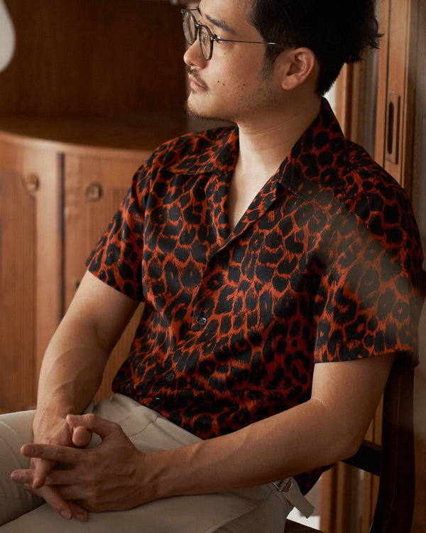 Red & black Charmeuse Leopard print shirt
