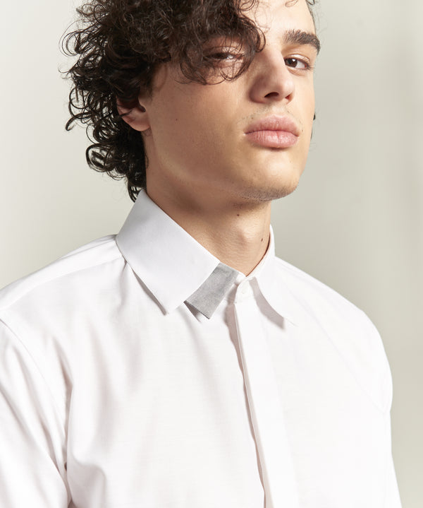 White shirt with grey double collar shirt