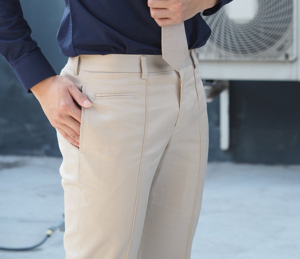 Beige with front line trousers