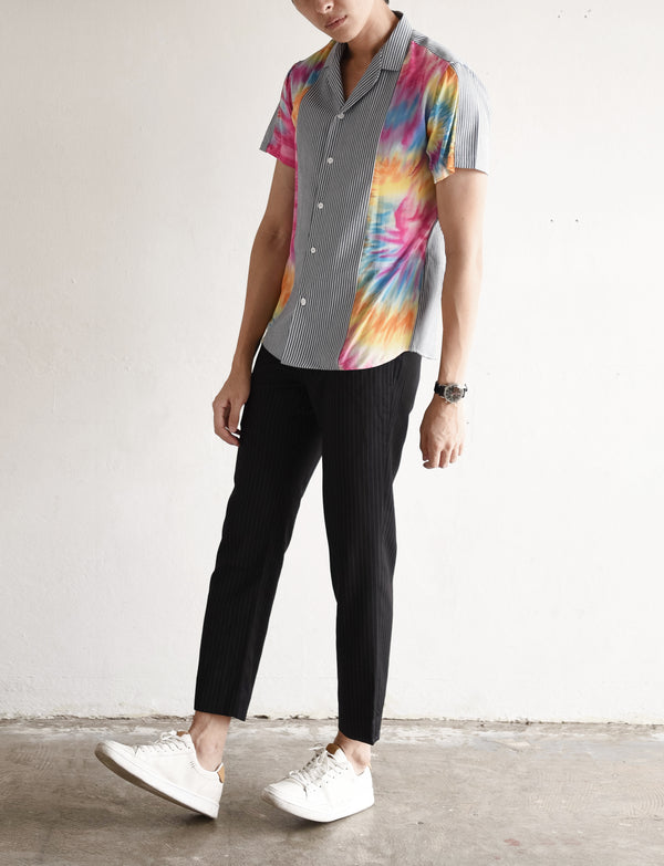 Stripe with tie dye flowing shirt