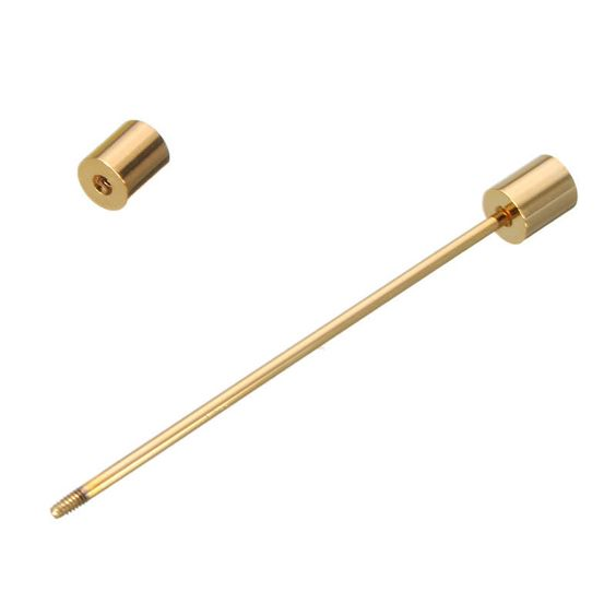 Cylindrical gold collar pin