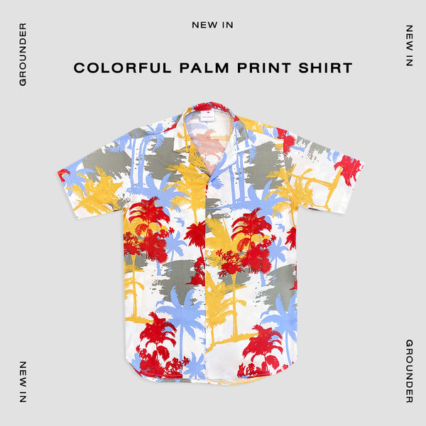 Colorful palm print shirt