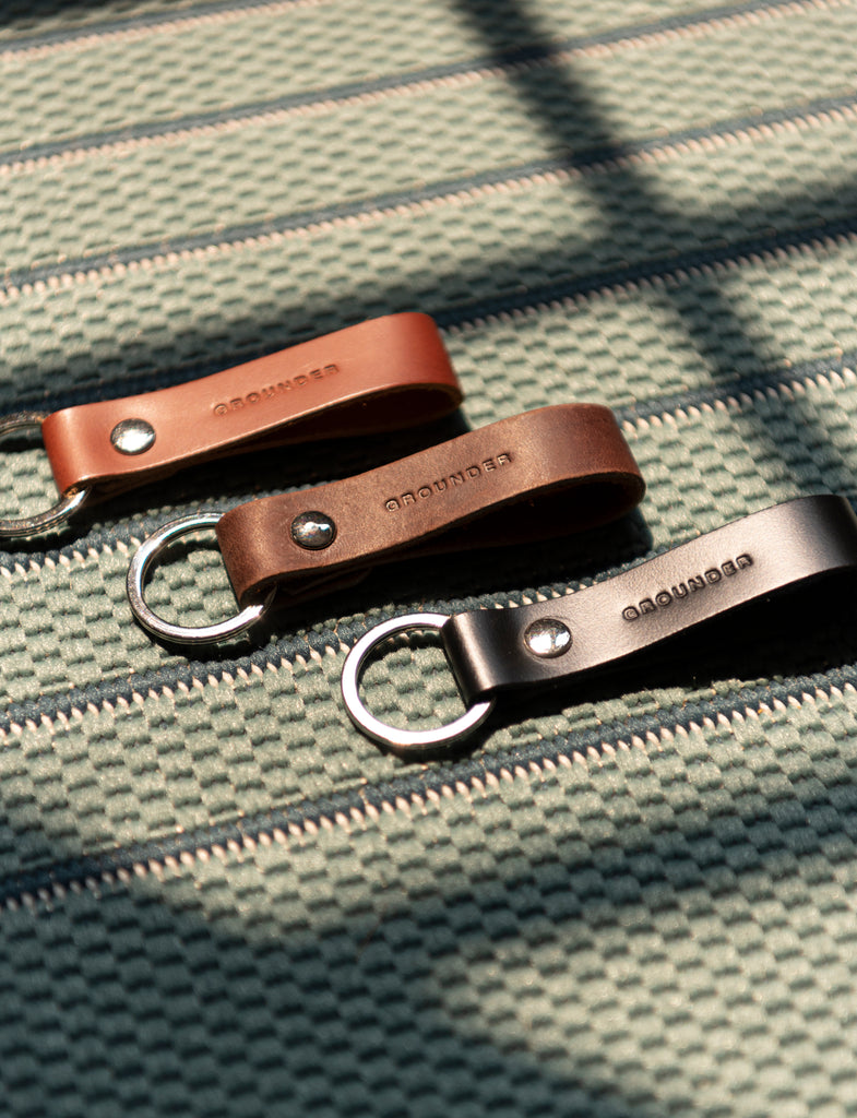 Tan leather key fob
