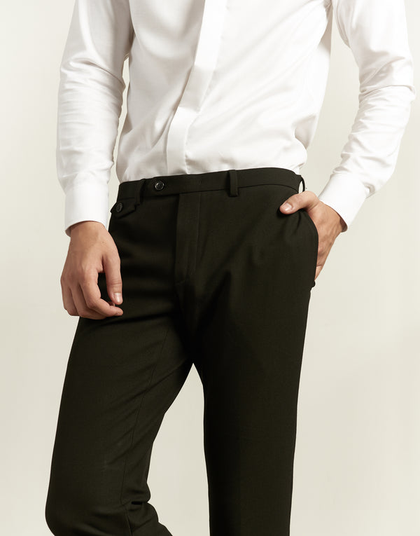 Black cotton trousers with angle pocket