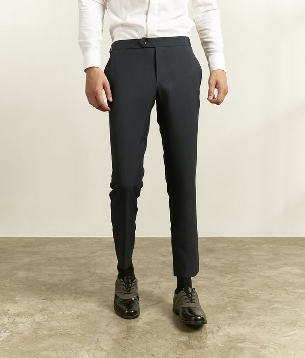 Hale navy with double belts cashmere trousers
