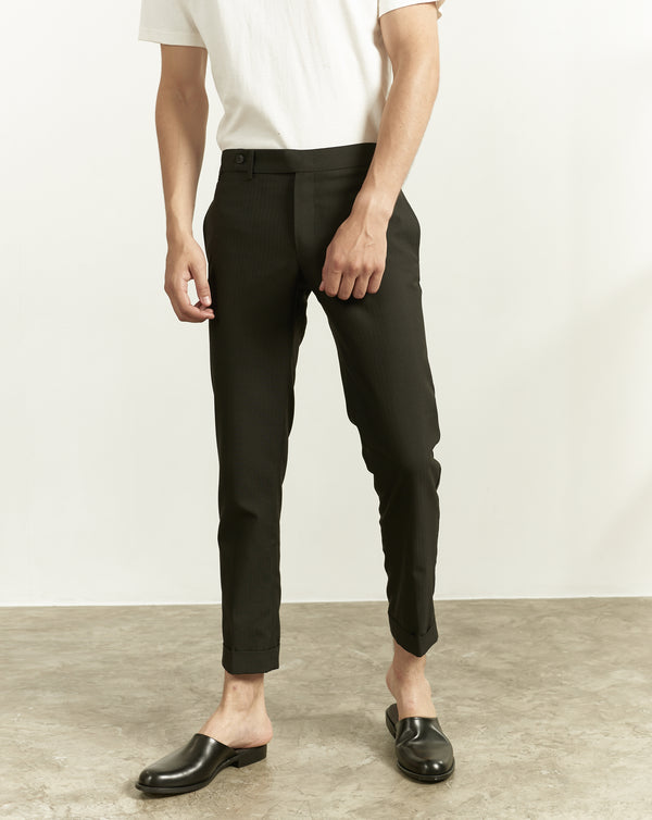 Black - tapered trousers with adjustable waist