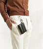 White - tapered trousers with adjustable waist