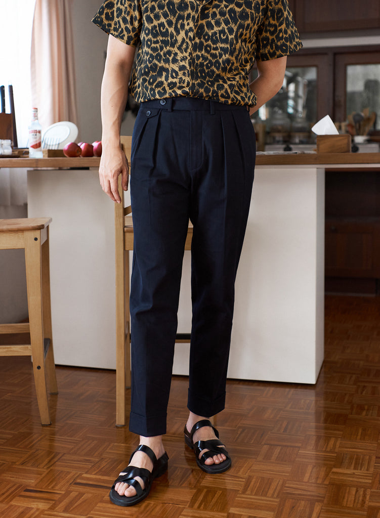 Navy - Jayson double pleat trousers