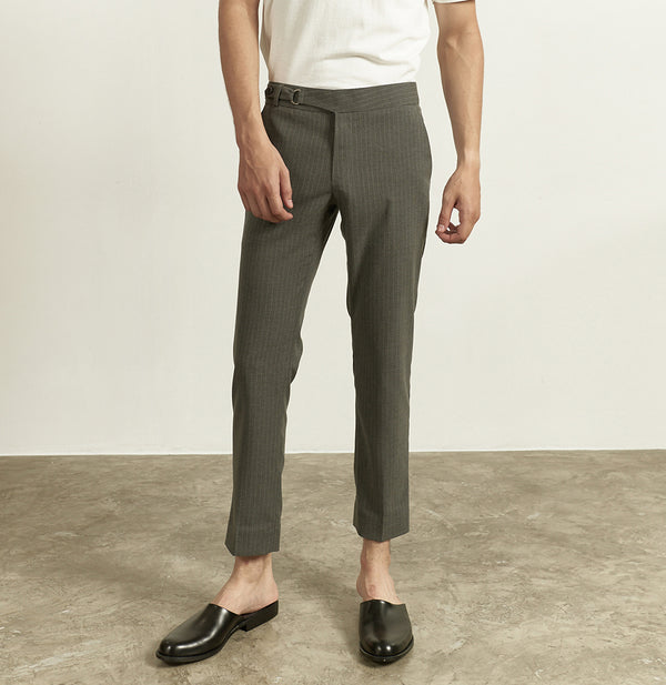 Grey stripe - belt waist 2.0 tailored cotton chino
