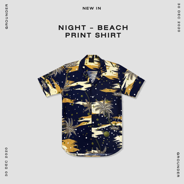 Night - Beach print shirt
