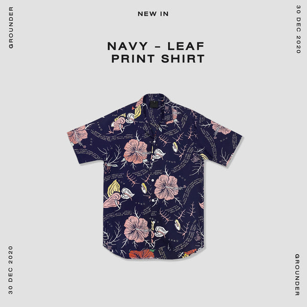 Navy - Leaf print shirt