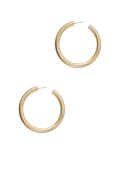 Bold Matte Large Hoop Earrings - Gold