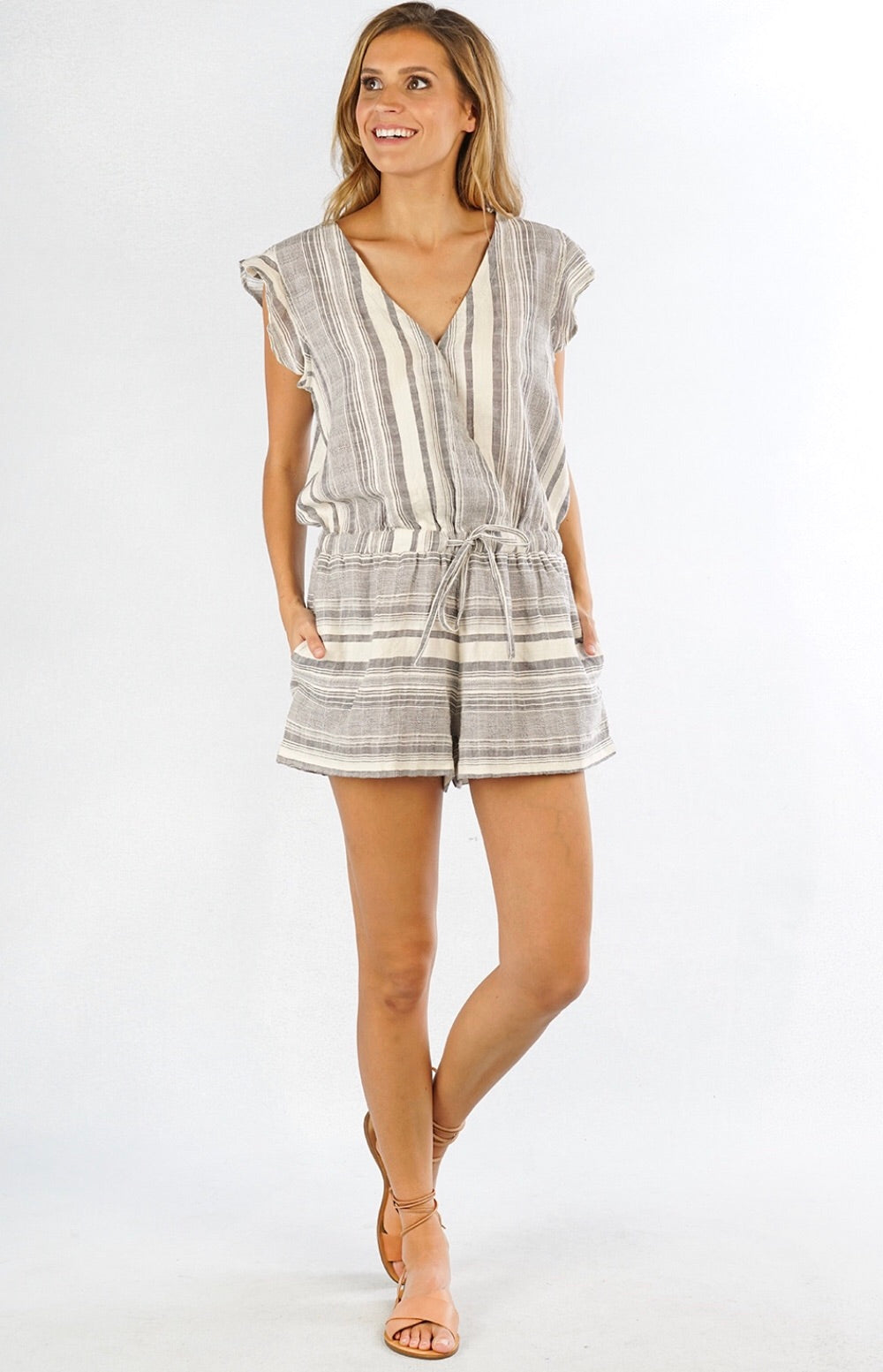 Striped Wrap Romper