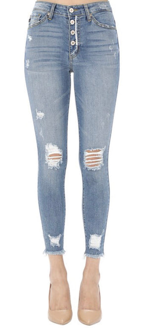 Button Fly Distressed Jeans