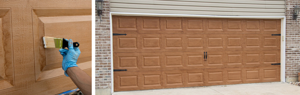 How to paint your garage door to look like wood giani inc for How to paint a garage door to look like wood