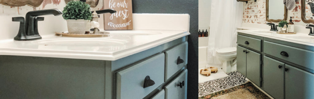 Guest Bath Makeover with Ana Ochoa and Nuvo Cabinet Paint