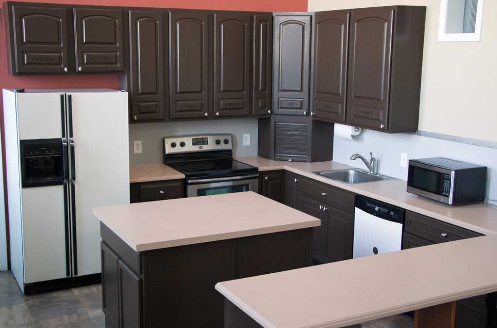 Brown Kitchen before Giani Paint Kit Makeover