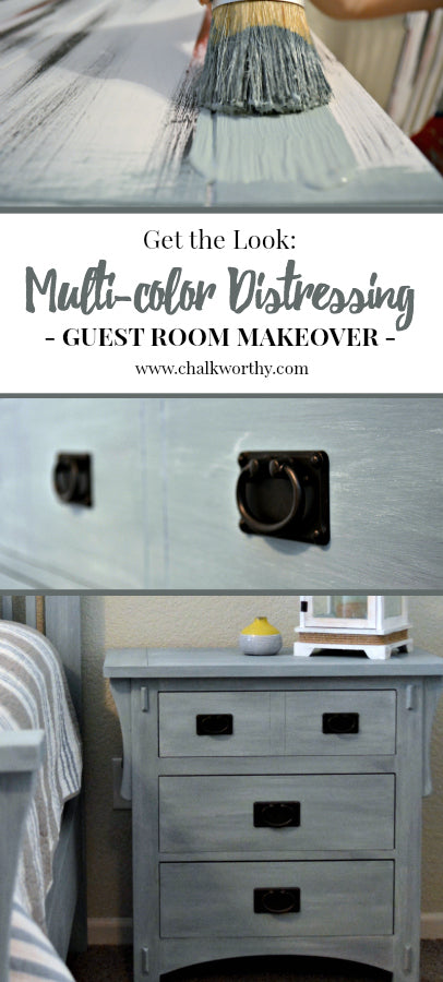Create a multi-colored distressed finish using Chalkworthy Antiquing Paint