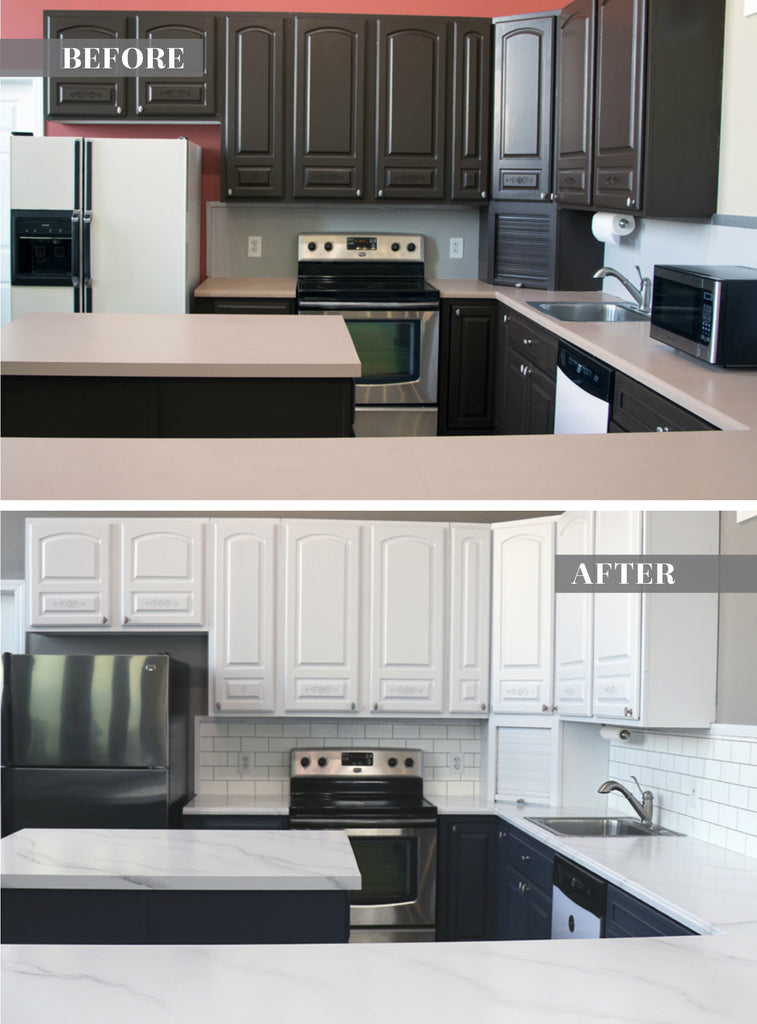 DIY Marble Countertops!  Full kitchen makeover using only paint kits by Giani.