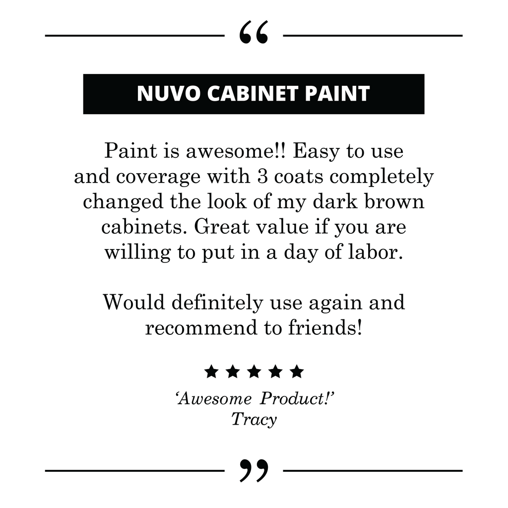 Nuvo Cabinet Paint 5-Star cutsomer testimony and review.