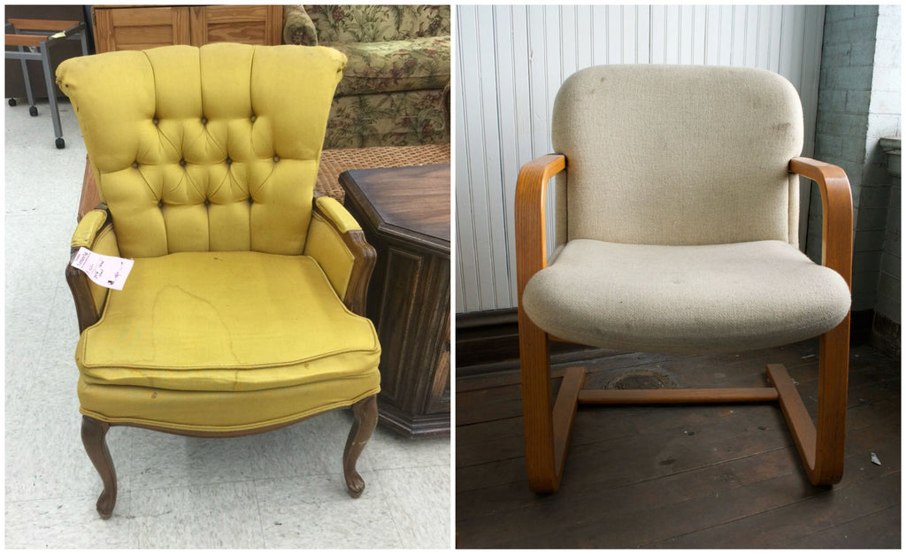 We Stumbled Upon The Yellow Wingback Chair At A Goodwill FOR ONLY $4! It  Had Tears, Stains, And A Sagging Cushion, But For Such A Low Cost We Saw A  Lot Of ...