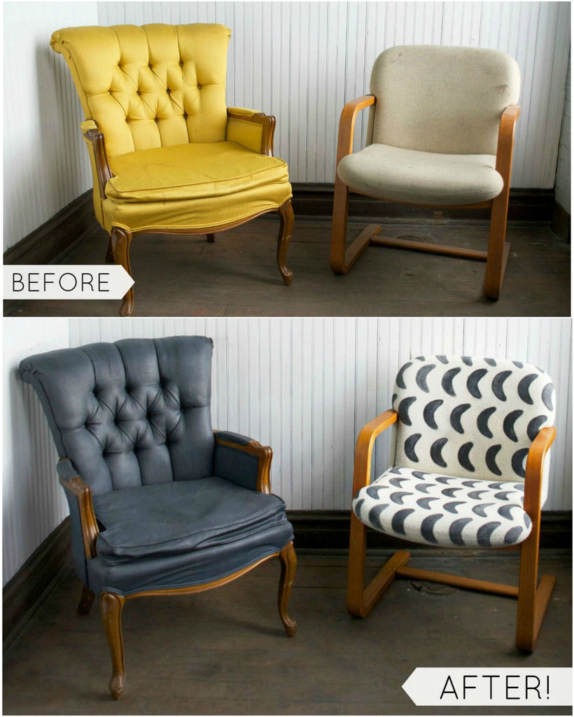diy fabric chair makeover with paint giani inc. Black Bedroom Furniture Sets. Home Design Ideas