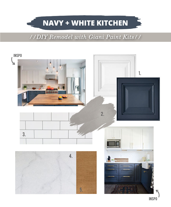 Mood Board for a kitchen makeover using only Giani DIY Paint kits!  Modern Navy + White Kitchen Remodel on a budget!