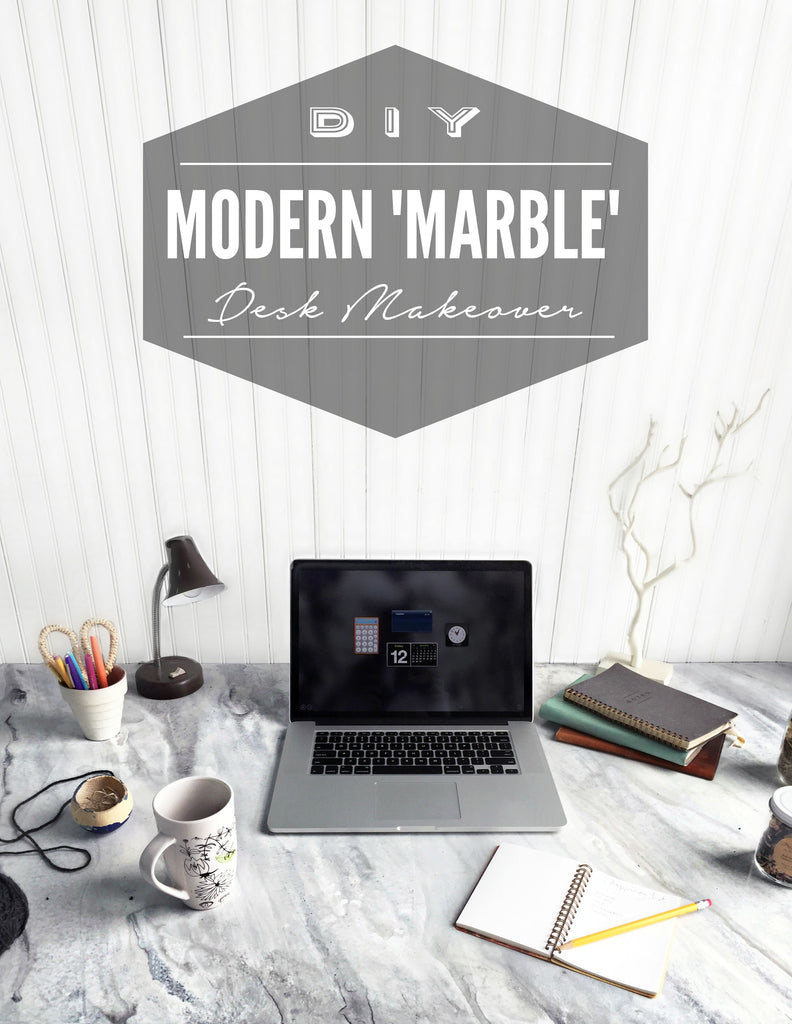 DIY Faux Marble Desk Makeover using Giani White Diamond kit
