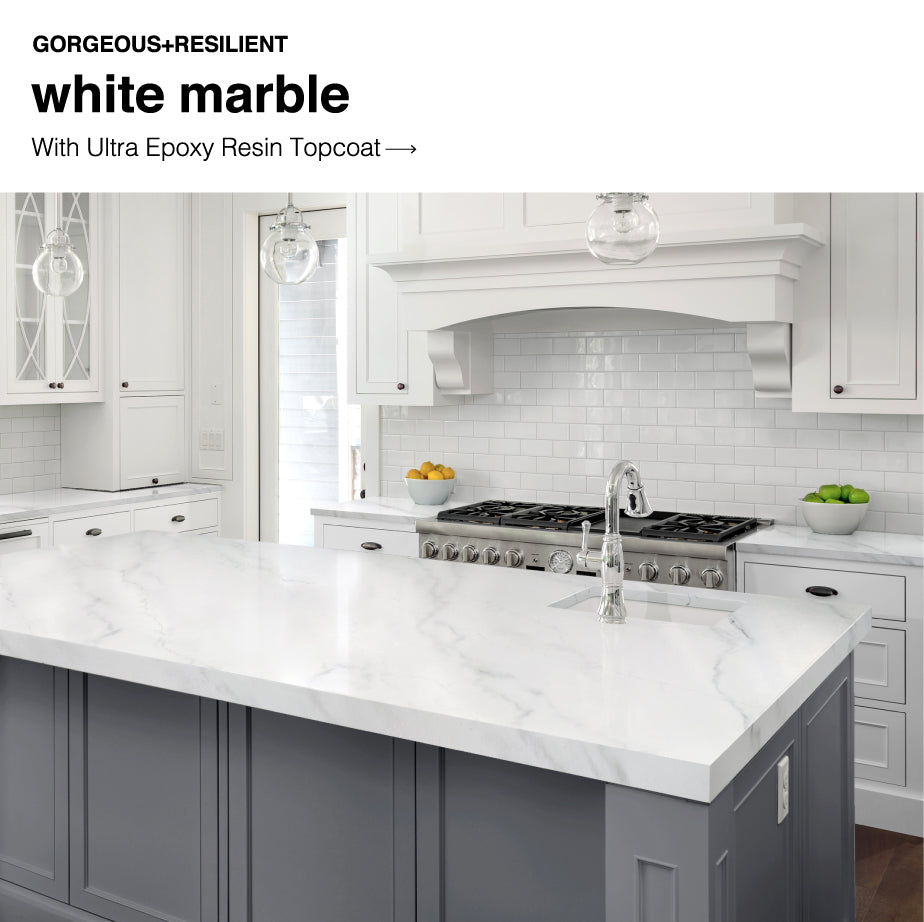 Countertops Painted with Giani White Marble