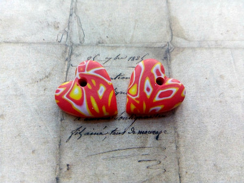 Fire Cracker Red Yellow Heart Polymer Clay Charms