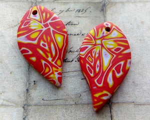 Red & Yellow Polymer Clay Tear Drop Charms