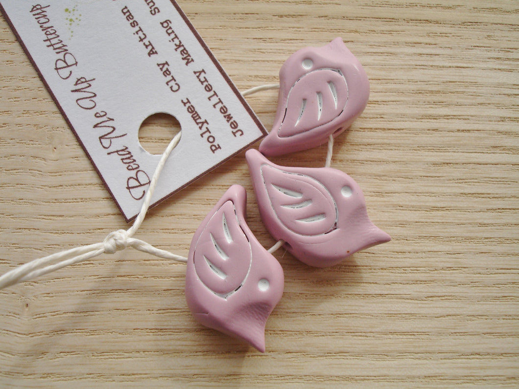 Polymer Clay Birds In Light Dusky Pink - Handcrafted Artisan Clay Beads