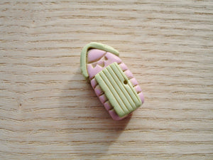 Pink & Light Lime Green Polymer Clay Beach Hut