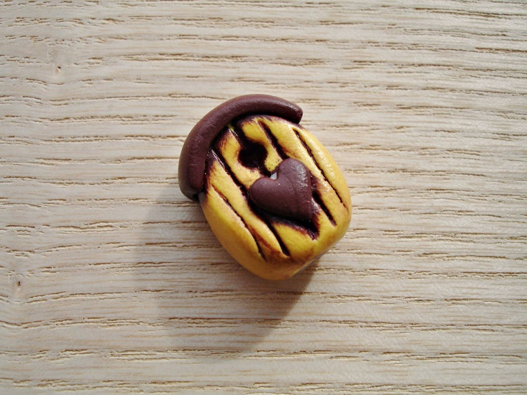Rustic Yellow & Chocolate Brown Polymer Clay Bird House