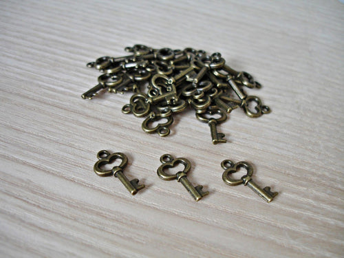 Antique Bronze Cute Little Heart Key Charms