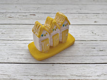 Lemon Yellow & White Polymer Clay Beach Hut Ornament With Hand Painted Bunting