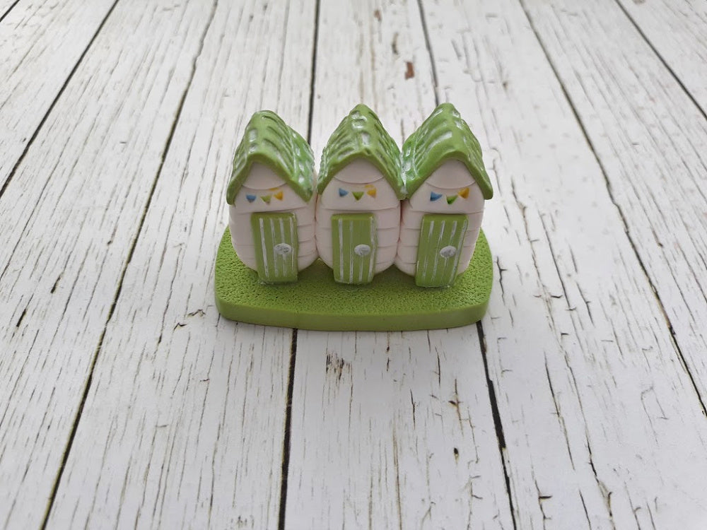 Green & White Polymer Clay Beach Hut Ornament With Hand Painted Bunting - Clay Beach Huts - Handcrafted Beach Huts