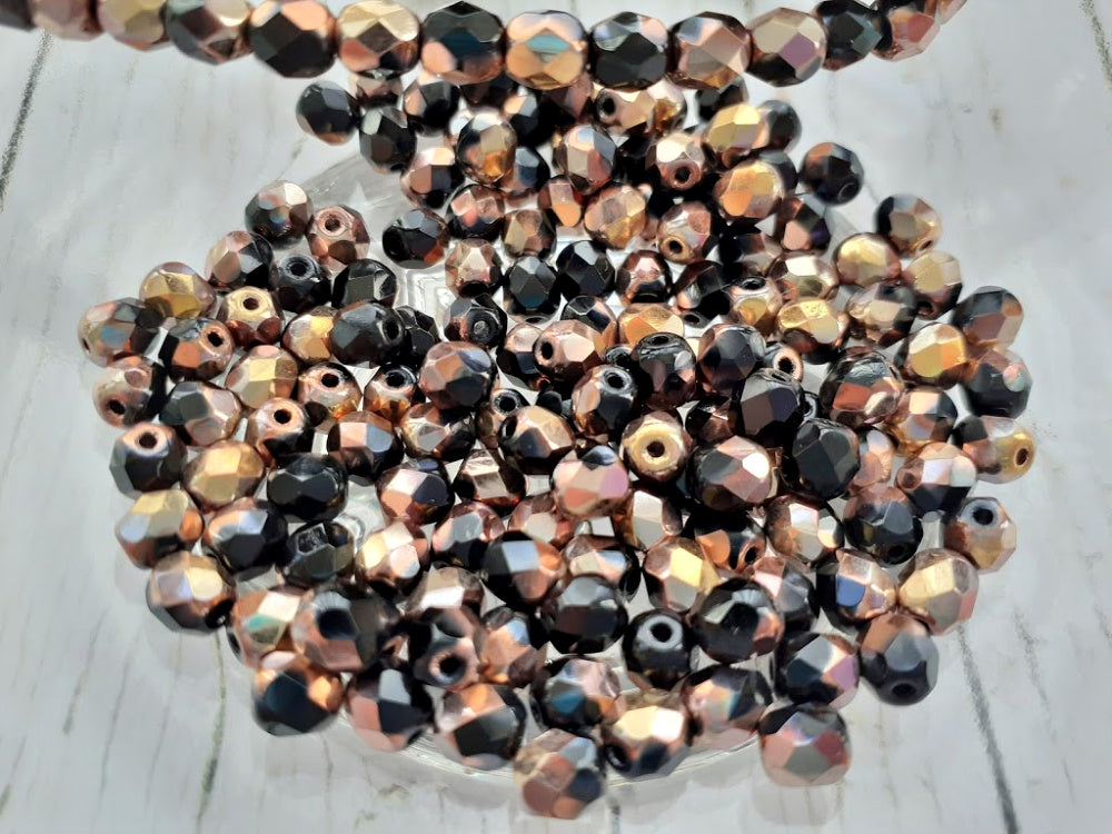 Black & Gold Fire Polished Faceted Czech Glass Beads 5 mm