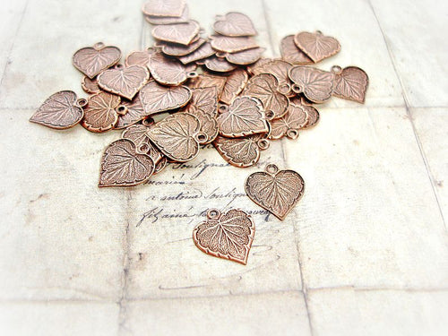 2 Antique Copper 13 mm Heart Leaf Charms