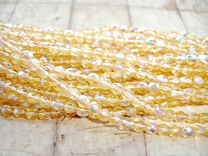 50 Champagne Yellow Faceted Fire Polished Czech Glass Beads 4 mm