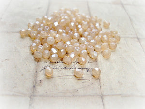 20 Peach Champagne Fire Polished Faceted 4 mm Czech Glass Beads